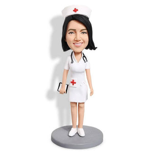 Charming White-robed Nurse Paramedic Custom Figure Bobblehead