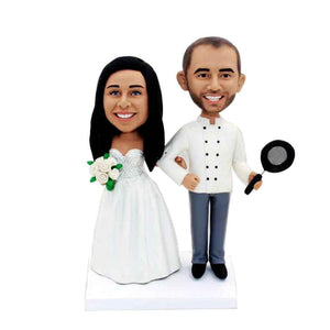 Chef Hold A Pan Wedding Anniversary Custom Figure Bobblehead