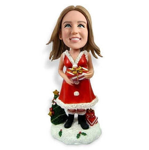 Christmas Lady with Gift and Christmas Tree Custom Figure Bobblehead