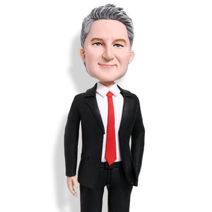 Classic Black Suit Office Male Boss Gift Custom Figure Bobblehead