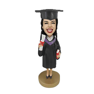 Personalized Classic Female Graduates with Books and Diploma Custom Graduation Bobblehead Gift