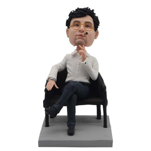 Cool Boss In Suit Sitting On A Chair Gift Custom Figure Bobblehead