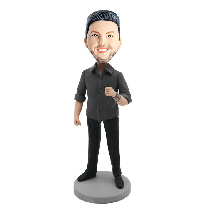 Cool Casual Man With One Hand Fist Custom Figure Bobblehead