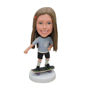 Cool Girl Skateboard Custom Figure Bobblehead