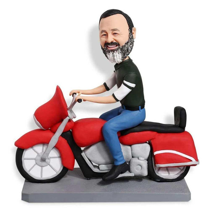 Cool Man Riding Red Motorcycle Custom Figure Bobblehead