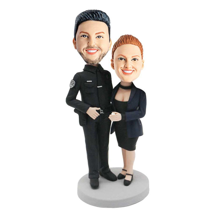 Cool Policeman and His Wife Custom Couple Bobblehead