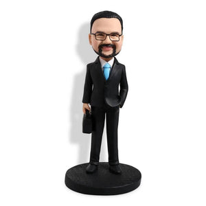 Cool Suits Office Man With Briefcase Boss Gift Custom Figure Bobblehead