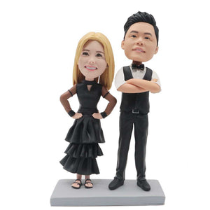 Couple In Black Evening Dresses and Suits Custom Couple Bobblehead