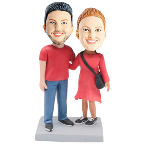 Couple In Red Clothes Custom Couple Bobblehead
