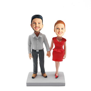 Couple In Red Dress And Suit Holding Hands Custom Figure Bobblehead