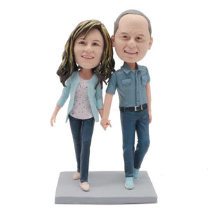 Couple Walking Together Hand In Hand Custom Couple Bobblehead