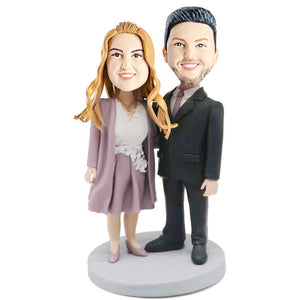 Couple in Business Clothes Custom Couple Bobblehead
