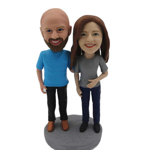 Couple in Casual Clothes Custom Figure Bobblehead