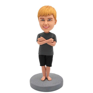 Cute Boy Holding Hands on His Chest Custom Figure Bobblehead