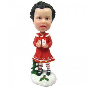 Cute Girl In Christmas Dress with Gift Custom Figure Bobblehead