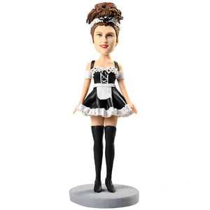 Cute Maid Outfit with Long Stockings Custom Figure Bobblehead