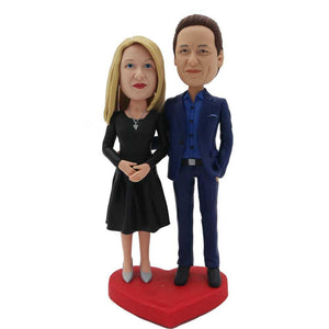 Dinner Couple In Blue Suit and Black Skirt Custom Figure Bobblehead