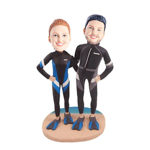 Diving Lovers Beach Couple Custom Figure Bobblehead