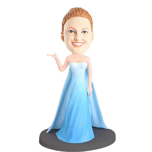 Elegant Princess In Blue Dress Custom Bobblehead
