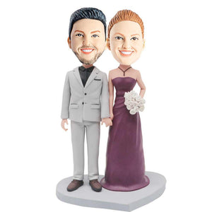 Fashion Couple With White Bouquet Custom Wedding Anniversary Bobblehead