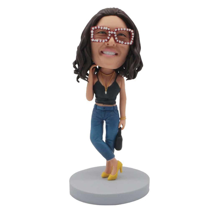 Fashion Female In Black Suspenders And High Heels Custom Figure Bobblehead