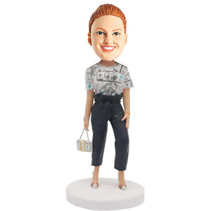 Fashion Female In Dollar Shorts Custom Figure Bobblehead