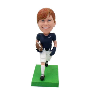 Female American Football Player with Ball Custom Figure Bobblehead
