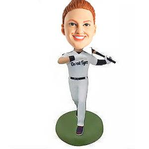 Female Baseball Player in White Uniform Custom Figure Bobblehead