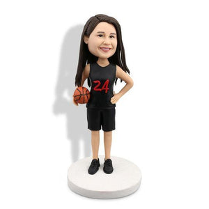 Female Basketball Player in Black Sportswear with Number 24 Custom Figure Bobblehead