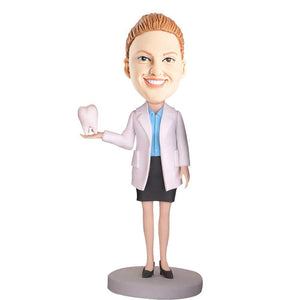 Female Dentist Holding Teeth Custom Bobblehead