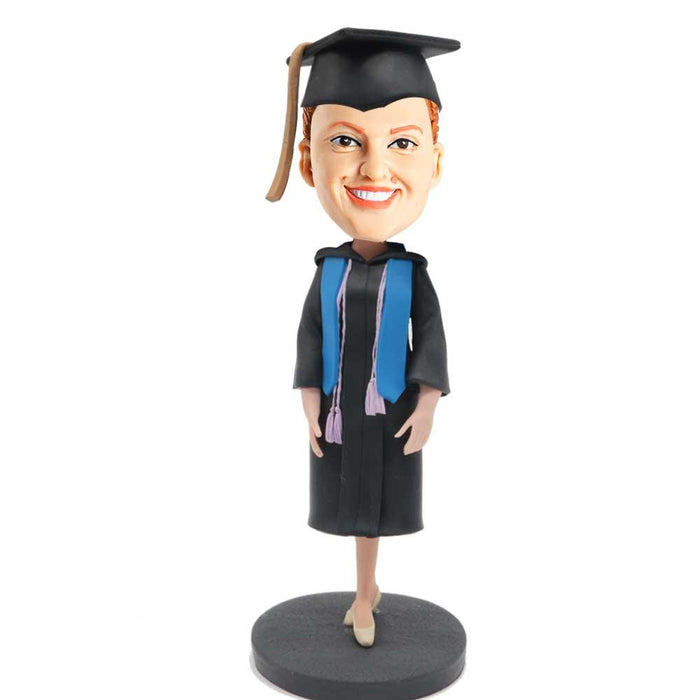 Female Graduate In Black Gown and Blue Ribbon Custom Graduation Bobblehead