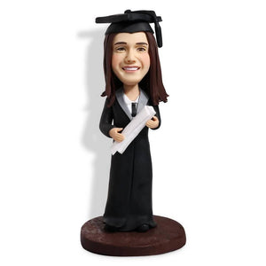 Female Graduates In Black Gown And Holding A Certificate Custom Graduation Bobblehead
