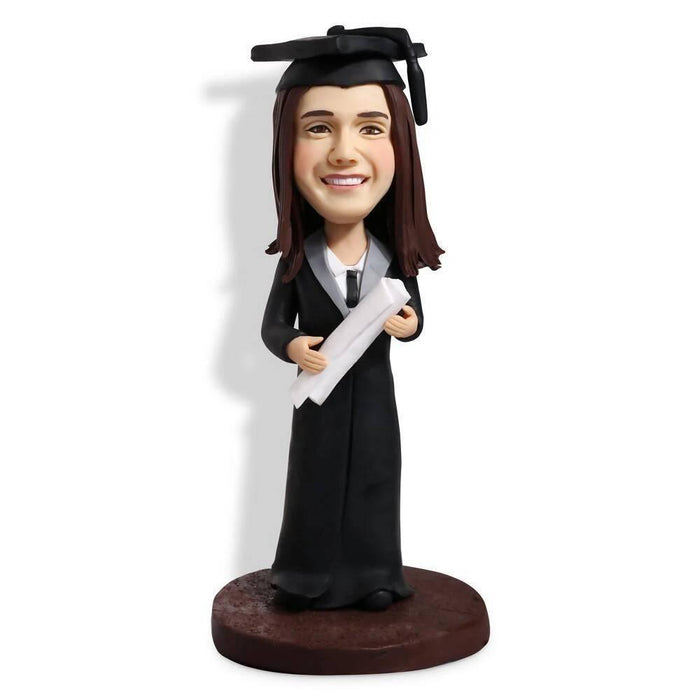 Personalized Female Graduates In Black Gown And Holding A Certificate Custom Graduation Bobblehead Gift