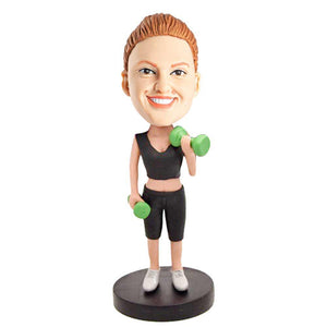 Female Gym In Black Workout Clothes Custom Figure Bobblehead