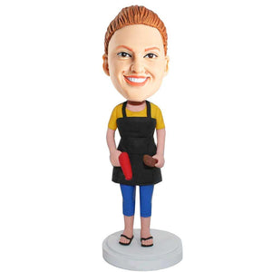 Female Hair Dresser With Hair Dryer And Comb Custom Bobblehead