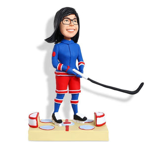 Female Ice Hockey Player Custom Figure Bobblehead