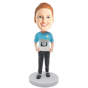 Female In Cute T-shirt Custom Leisure Bobblehead