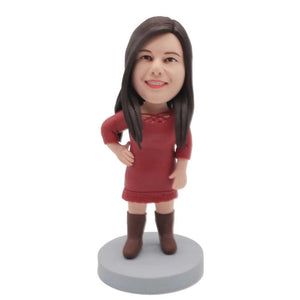 Female In Red Dress And Boots Custom Figure Bobblehead