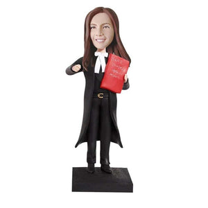 Female Lawyer In Black Uniform Custom Figure Bobblehead