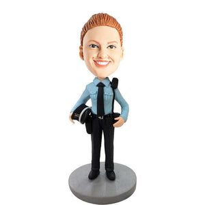 Female Police Officer Policewoman In Uniform And Hat Custom Bobblehead