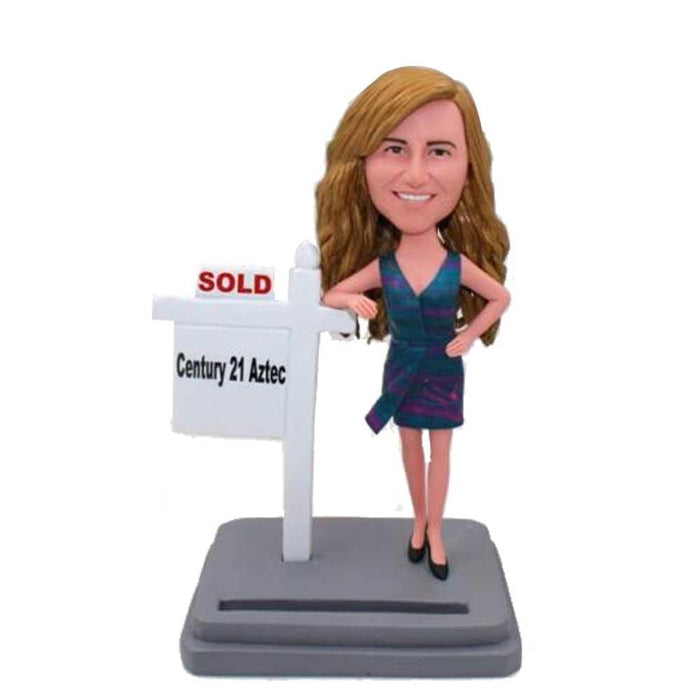 Female Realtor In Dress  Custom Bobblehead