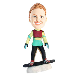 Female Skier On Snow with Snowboarder Custom Bobblehead