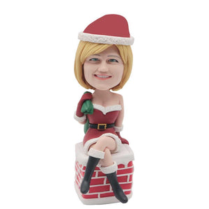 Funny Christmas Lady Sitting on Chimney Custom Figure Bobblehead