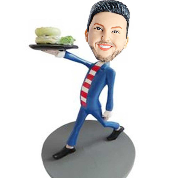 Funny Man with Veggie Burger Custom Bobblehead