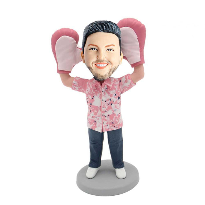 Funny Man with the Big Pink Gloves Custom Figure Bobblehead