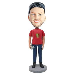 Gamer Boy In Red T-shirt With Gamepad Custom Figure Bobblehead