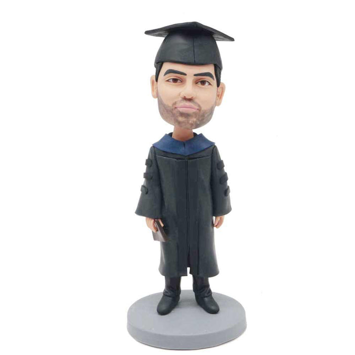 Personalized Poise Male Graduates In Black Bachelor Uniform Custom Graduation Bobblehead Gift