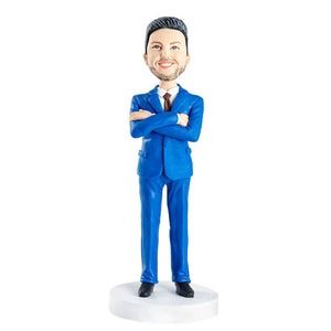 Handsome Blue Suit Male Office Boss Gift Custom Figure Bobblehead