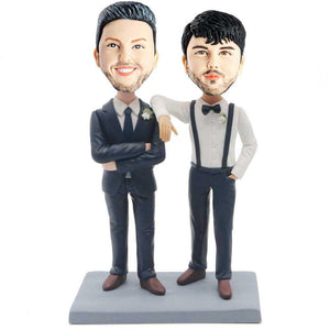 Handsome Groom and His Groomsman Custom Bobblehead