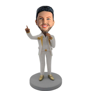 Handsome Man Speaking with a Microphone Custom Figure Bobblehead